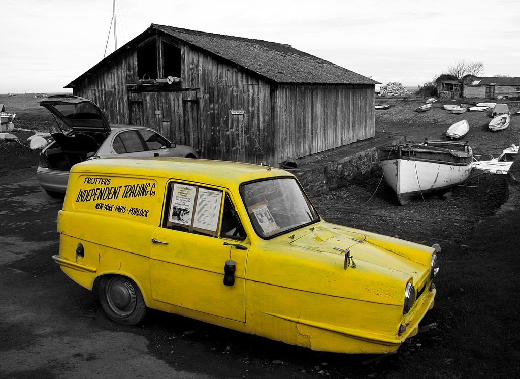 Only fools and horses van on display in a dump.