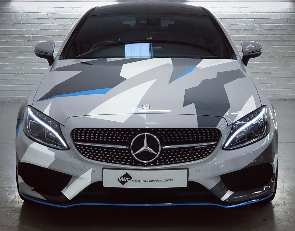 Mercedes C43 Camo Printed Graphics Personal Vehicle Wrap