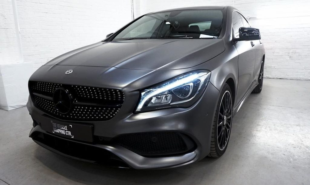 Mercedes Cla Coupe Full Wrap In 3m Satin Dark Grey