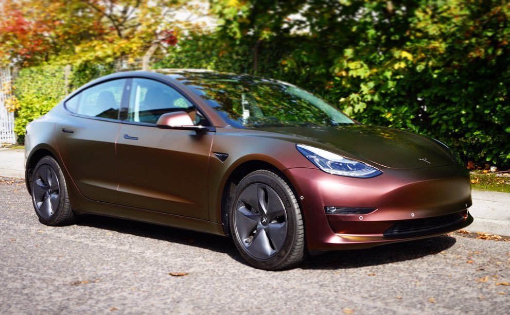Tesla Model 3 Car Wrap by 3M: Satin Flip Volcano Flare