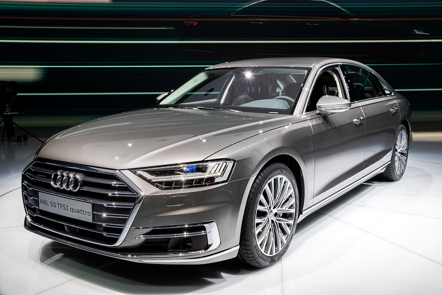 Audi A8 L 55 TFSI quattro car showcased at the Frankfurt IAA Motor Show.