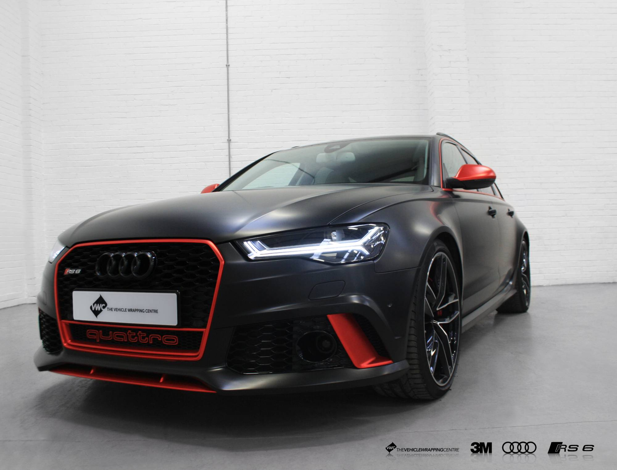 Audi Rs6 Satin Black Satin Red Chrome Detailing