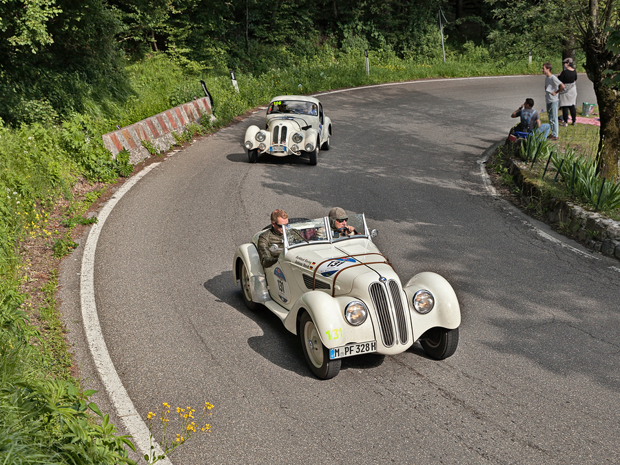 Classic cars at the Yorkshire Hill Climb.