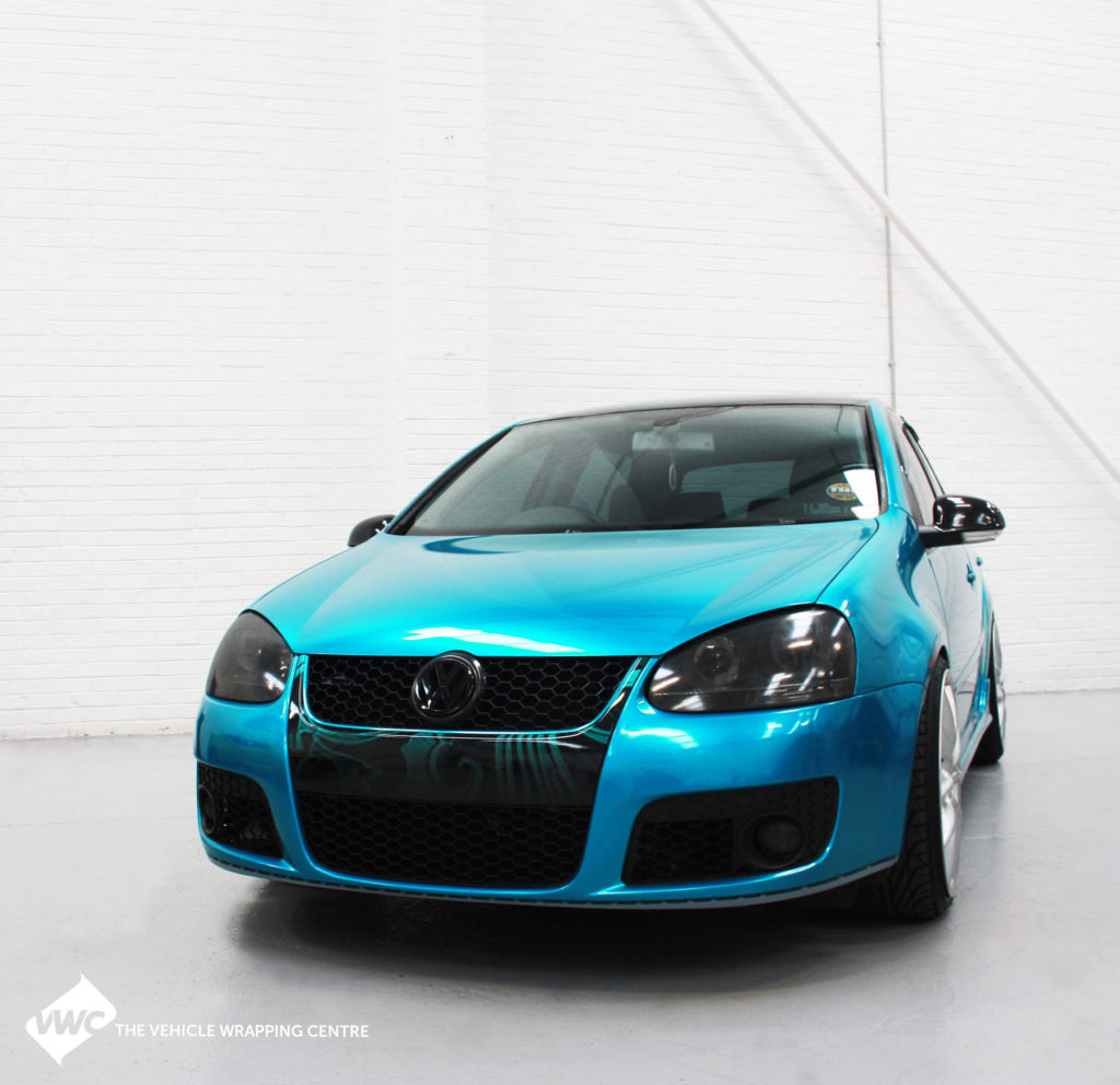 vw golf   gloss atomic teal personal vehicle wrap project