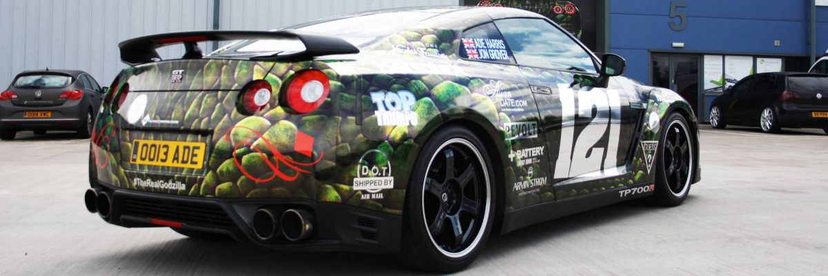 GTR TP700R wrapped in a green image with sponsors logos detailed on