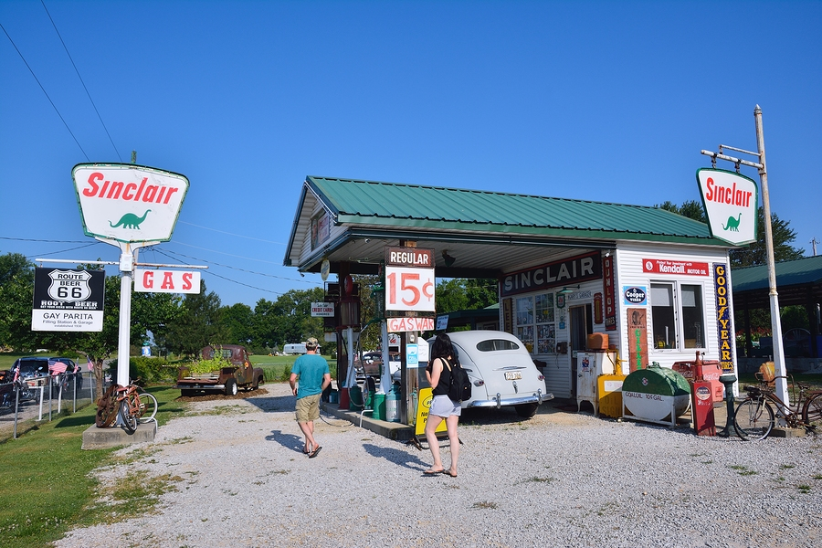 Gas station in summer