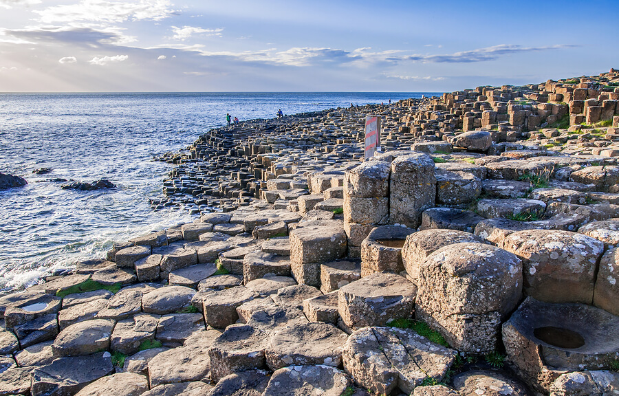 A picture of The Giant's Causeway in summer.