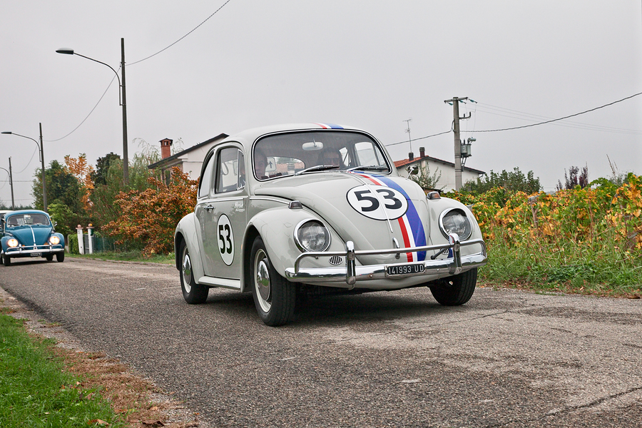 "vintage Volkswagen Type 1 Beetle Herbie of the sixties in classic car rally ""Battesimo dell aria"" on november 4, 2018 in Lugo, RA, Italy"