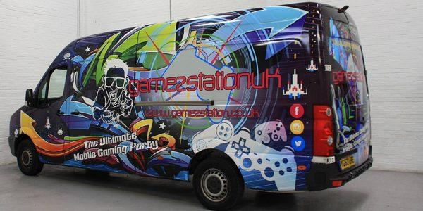 Multi coloured digitally printed van wrap