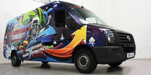 Multi coloured van wrapped in digitally printed design