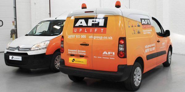 Orange and white fleet wrap AFI uplift
