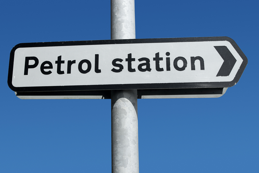 A British Petrol Station road sign close up.