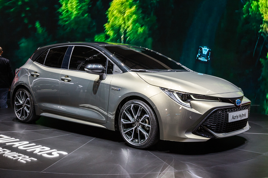 Toyota Auris Hybrid car showcased at the 88th Geneva International Motor Show.