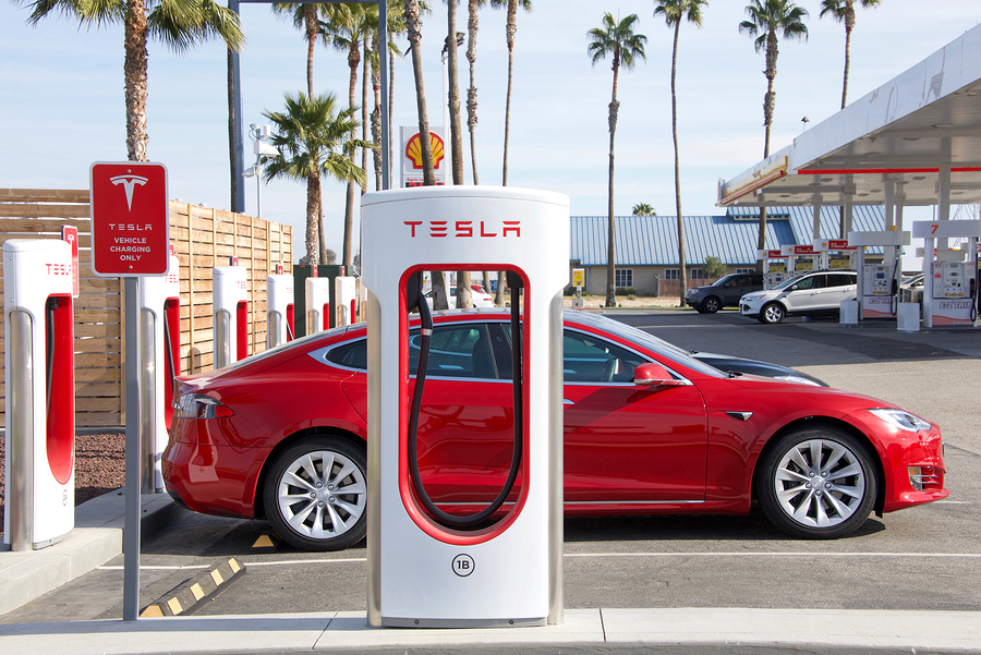 Tesla Supercharging Station at Tejon Ranch. Tesla Supercharger stations allow Tesla cars to be fast charged at the network within an hour.