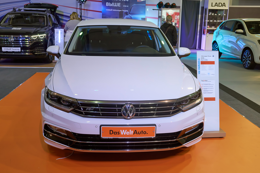 Krasnoyarsk, Russia - September 22, 2018: Exhibition MOTOR EXPO SHOW car Volkswagen Passat. Front view.