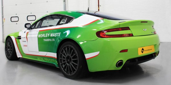 Digitally wrapped Aston Martin in green and white colours