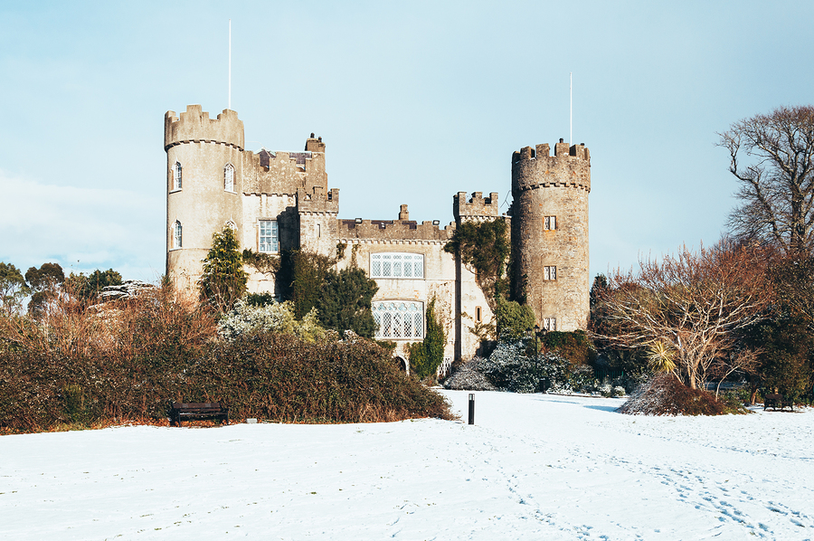 Malahide Castle in snow Co. Dublin Ireland.