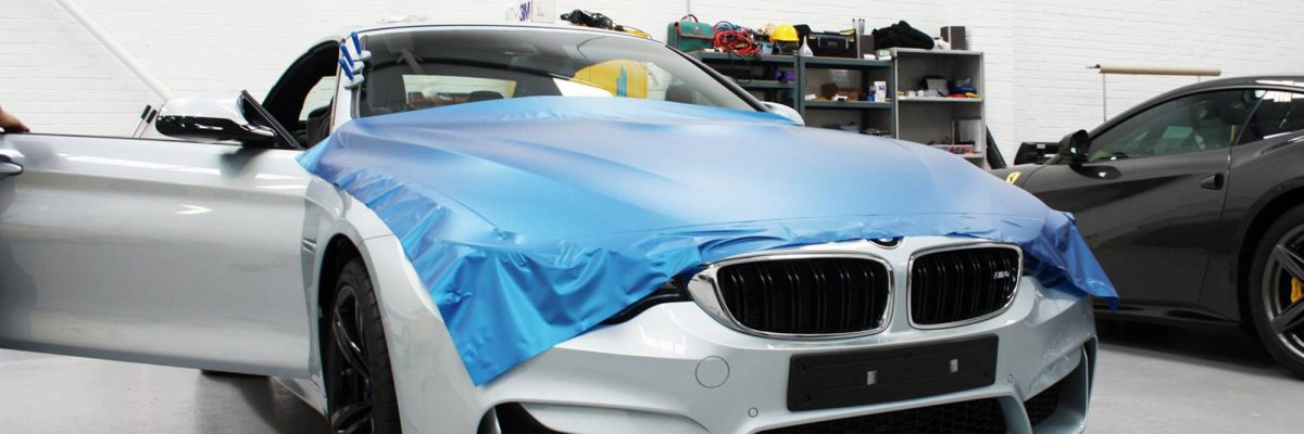 BMW in the process of being colour changed