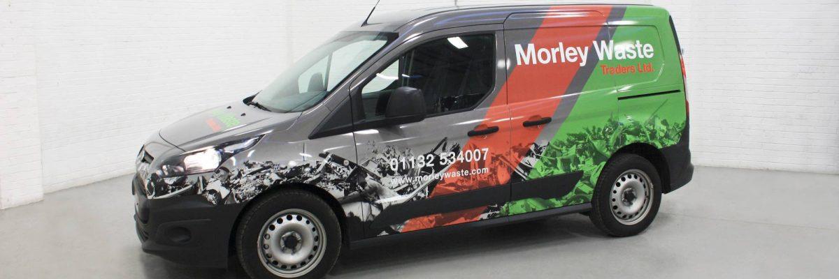 Commercially wrapped van in digitally printed custom vinyl