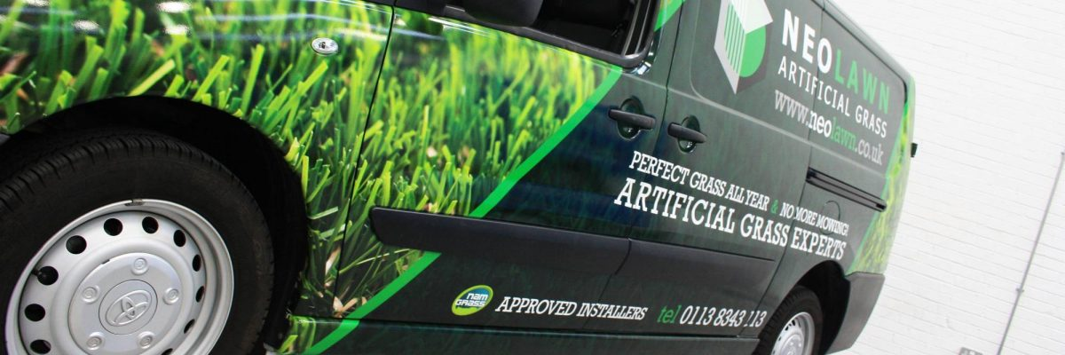 Commercial van wrap digitally printed green grass and black