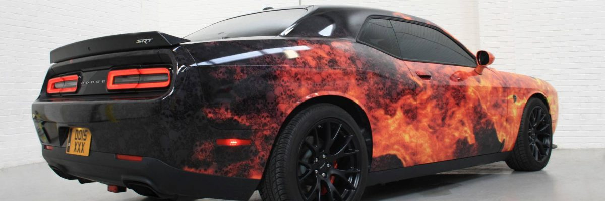 Behind shot of Dodge Viper digitally wrapped in fiery explosion theme