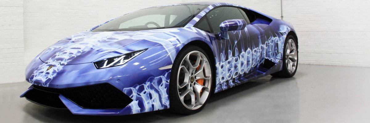 Lamborghini digitally wrapped in blue and white plasma pulse