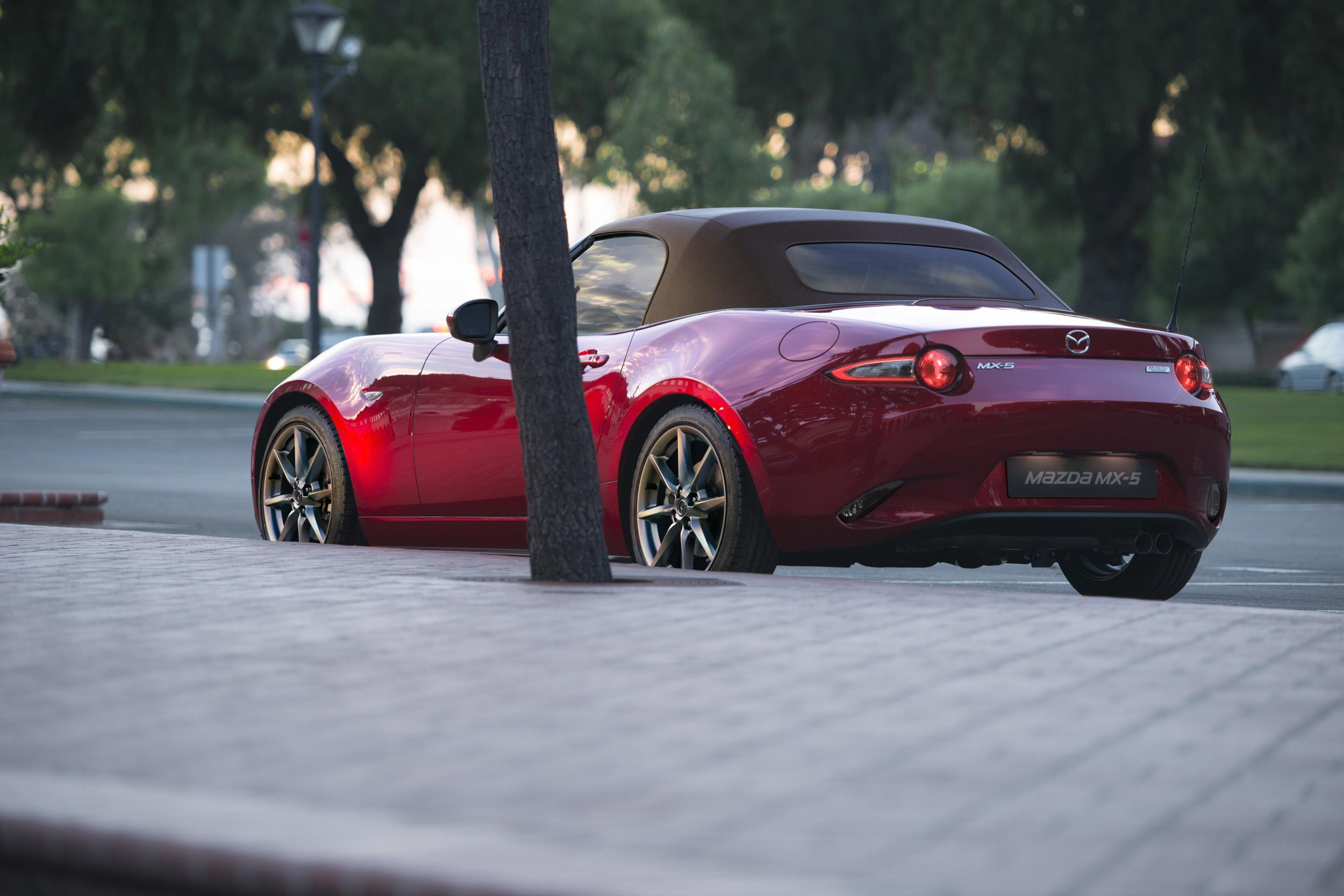A red Mazda MX5 Convertible