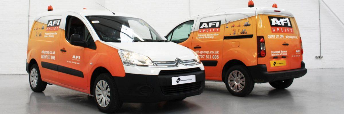 Digitally printed orange and white van wrap for AFI