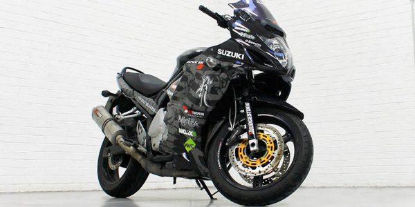 Suzuki motorbike wrapped and detailed