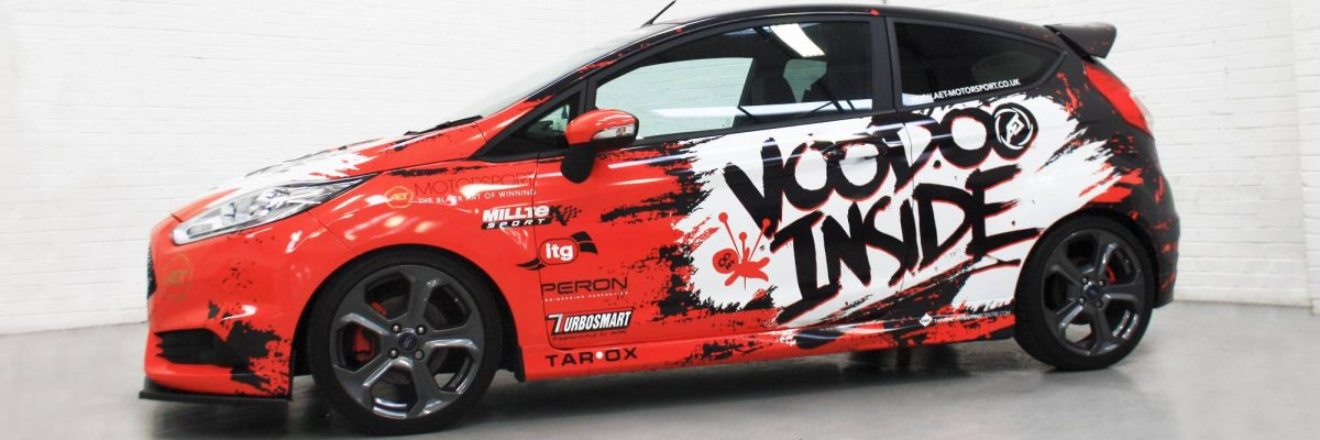 Voodoo Inside digitally printed wrap, red, black and white colours